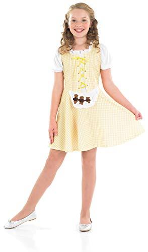 fun shack Girls Goldilocks Costume Kids Fairy Tale Dress Story Character Outfit - Large -