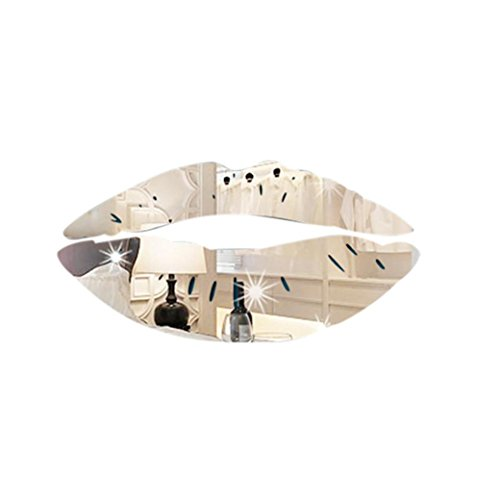 - PHOTNO Wall Stickers Creative Lips Mirror Decal Art Home Decor Room DIY Removable Decoration (Silver)
