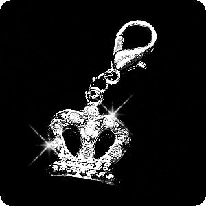 Crown Pet Charm (PURELY CHARMING Pet Charm / Pendant with Handset Swarovski Crystals - Gothic)