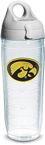 Tervis 1074971 Iowa University Emblem Individual Water Bottle with Gray lid, 24 oz, Clear