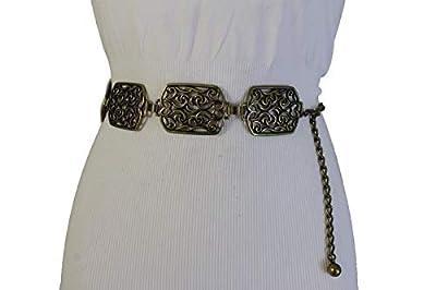 TFJ Women Western Fashion Belt Hip Waist Antique Gold Metal Bling Retro Filigree Charm S M L