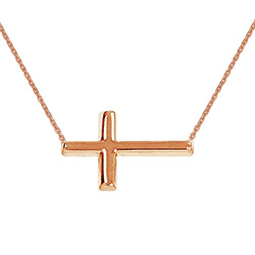 Ritastephens 14K Pink Rose Gold Sideways Cross Necklace Adjustable Chain 16-18 Inches