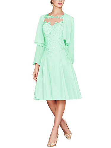 91cc08b90507f APXPF Women's Tea Length Lace Chiffon Mother of The Bride Dresses Two  Pieces with Jacket Mint