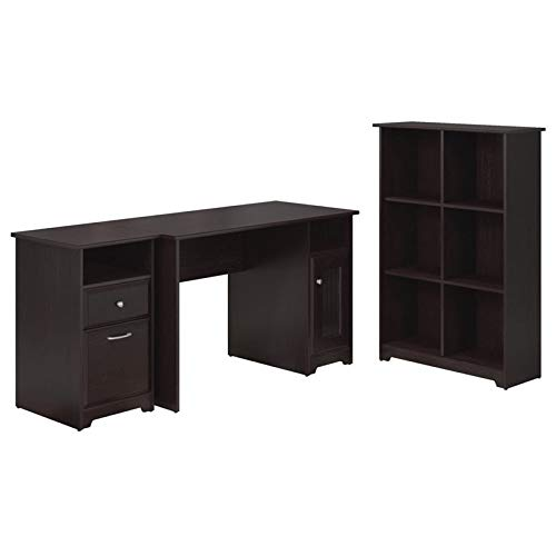 Bush Furniture Cabot Computer Desk with 2 Drawer File Cabinet and 6 Cube Bookcase