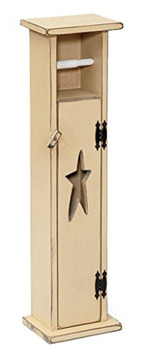 (Furniture Barn USA Primitive Pine Toilet Paper Holder Storage Stand with Rustic Star Cut Out - Multiple Paint Options)