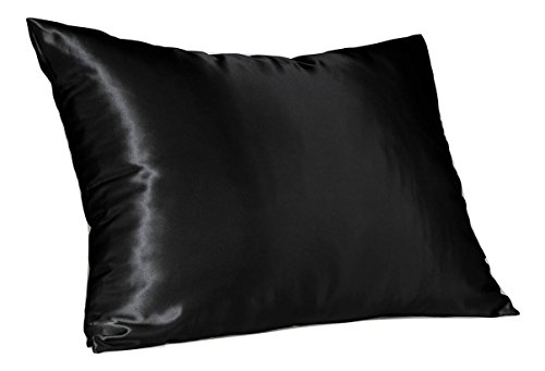 Sweet Dreams - Blissford 2-Pack Luxury Satin Pillowcase with Zipper, Standard Size, Black (Silky Satin Pillow Case for Hair) By Shop (Zebra Standard Print)
