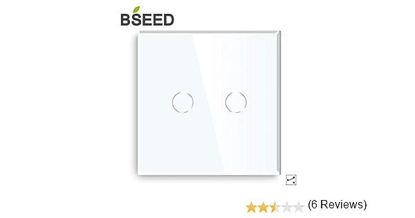Touch Dimmer Interruptor de luz electrónico con indicador LED de cristal 1 compartimento Cambio marchas, Blanco: Amazon.es: Bricolaje y herramientas