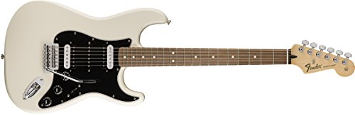 Fender Standard Stratocaster Electric Guitar - HH - Pau Ferro Fingerboard, Olympic White Deluxe Active Precision Bass