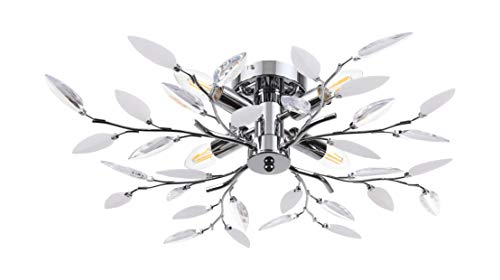 (Ceiling Light with Acrylic Crystal Leaves and 4 Lights Decorative Chrome Finished Light Fixture, Indoor Ceiling Flush Mount, SN-CF015CL, by)