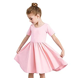 STELLE Toddler/Girls Short Sleeve Casual A-Line Dress for School Party (Pink, Size 3)