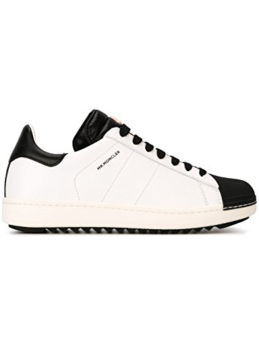 MONCLER MEN'S 1015400016784 WHITE/BLACK LEATHER - Moncler Black