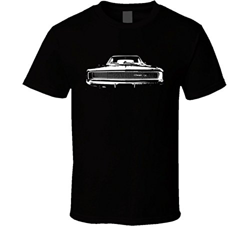 1968 Dodge Charger Grill White Graphic Dark Color Shirt M Black