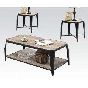 Acme Furniture 81920 3 Piece Oldlake Coffee/End Table Set, Antique Light Oak & Black