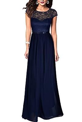 REPHYLLIS Women's Retro Floral Lace Chiffon Wedding Maxi Formal Long Dress