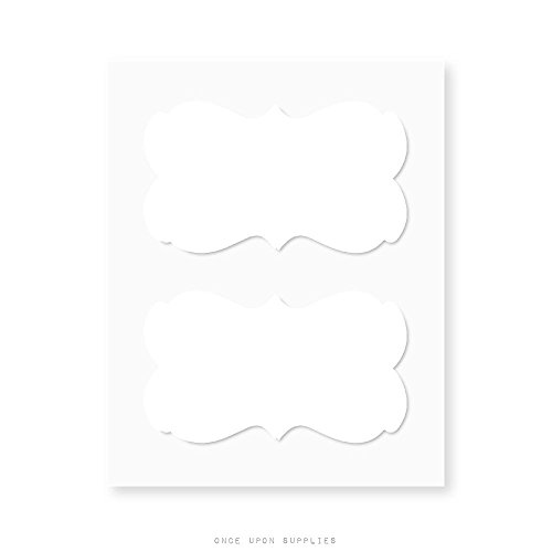 Ornate Border Fancy Frame Decorative White Labels by Once Upon Supplies, Adhesive Stickers for Labeling Storage Jars, Boxes, Files and More, 2-1/4