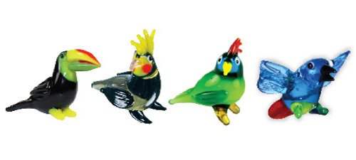 Looking Glass Miniature Collectible - Toucan / Cockatiel / Parrot / Macaw (4-Pack) (Glass Figurines Collectibles)