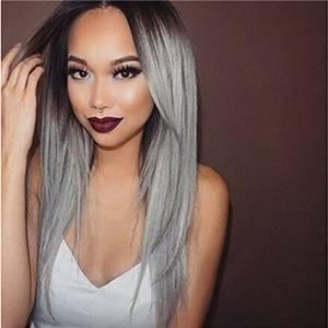 X&Y ANGEL New Fashion Straight Hair Two Tone Brown Root to Grey Ombre Resistant Fiber Synthetic Wigs by X&Y ANGEL
