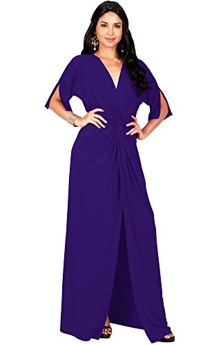 (KOH KOH Petite Womens Long Sexy V-Neck Short Sleeve Cocktail Evening Bridesmaid Wedding Party Slimming Casual Summer Maxi Dress Dresses Gown Gowns, Indigo Blue Purple S 4-6 )