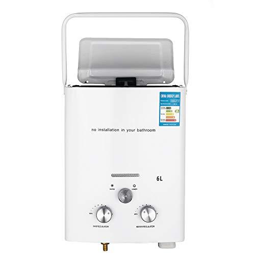 Bisujerro 6L Calentador de Agua Portatil LPG Calentador de Agua sin Tanque 12kw Calentador de Agua Electrico Calentador de Agua Instantaneo de Gas Butano
