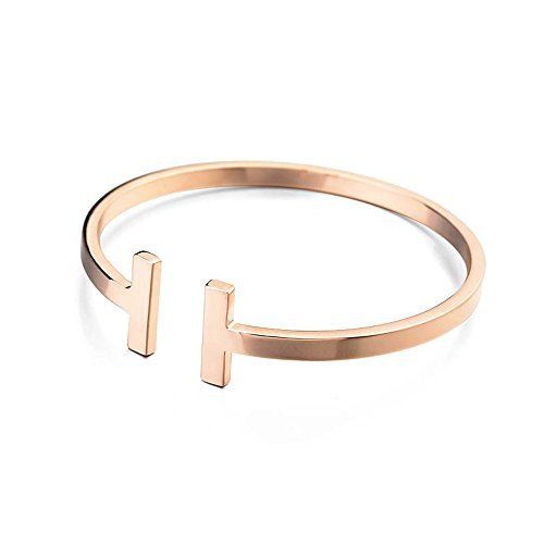 MANZHEN Gold Rose Gold Silver Double T Bangle Bracelet West Cuff Bangle(Rose Gold)