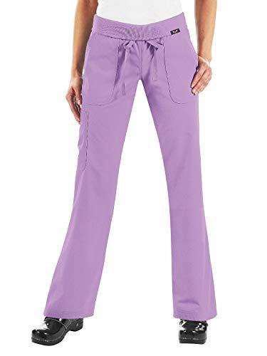KOI Women's Morgan Ultra Comfy Yoga-Style Cargo Scrub Pants with Rib-Knit Waist, French Lilac, - French Ribs