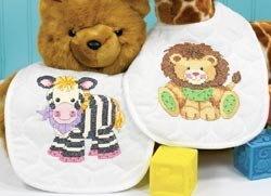 Dimensions Stamped X Stitch -bibs: Pk Of 2: Baby Express