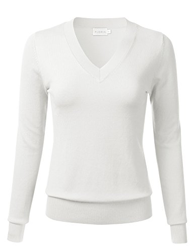 FLORIA Womens Soft Basic Thick V-Neck Pullover Long Sleeve Knit Sweater Ivory L