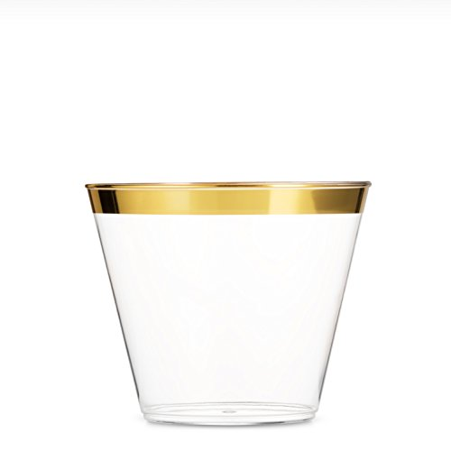 5 Oz Gold Plastic Cups ~ 100 Small Clear Plastic Cups Old Fashioned Tumblers ~ Gold Rimmed Cups Fancy Disposable Wedding Cups ~ Elegant Party Cups with Gold Rim - Gold Clear Crystal