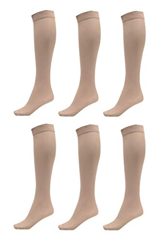 6 Pack of Women Trouser Socks with Comfort Band Stretchy Spandex Opaque Knee High, Beige