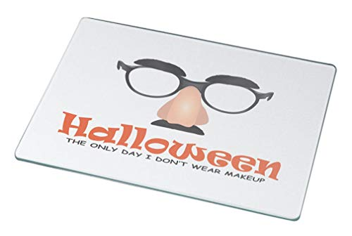 Rikki Knight Halloween Makeup Fun Designs Small glass Cutting board Workspace Saver ()
