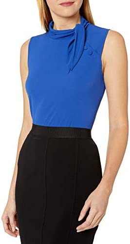 Vince Camuto Women`s Sleeveless Tie Neck Side Button Detail Blouse / Vince Camuto Women`s Sleeveless Tie Neck Side Button Detail Blouse