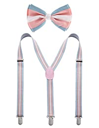 Pride Bowtie and Suspender Set - LGBT Transgender Theme Bow Tie and Suspender Set for Men - Many Colors to Choose From