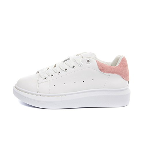 Better Annie Big Size 35-43 Spring Autumn Genuine Leather Sneakers Women White Shoes Fashion Lace-up Platform Shoes For Women Pink 5