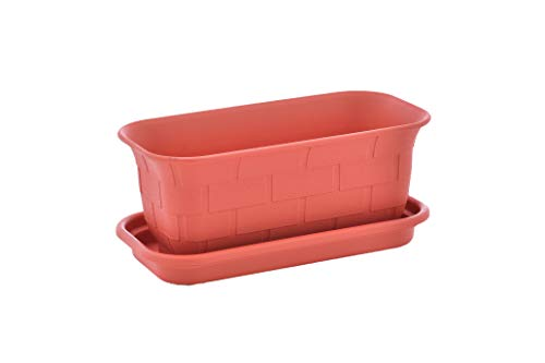 TABOR TOOLS Small 10 Inch Plastic Window Box Planter with Drainage Holes and Saucer, Indoor and Outdoor Use. ZG656A. (Red Terracotta) ()