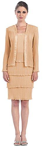 festliches Ärmel Brautmutterkleid Kleid kurz Kostüm Hochzeitsgast Abendkleider Abendmode für Langarm elegantes lange Gold Damen xnXCgz6