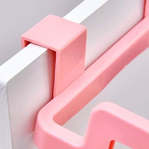 S/ólido Colgante Armario de Cocina Armario Puerta Soporte Trasero Estilo de Estante de Basura Cubo de Almacenamiento Bolsas de Basura Colgante-Rosa