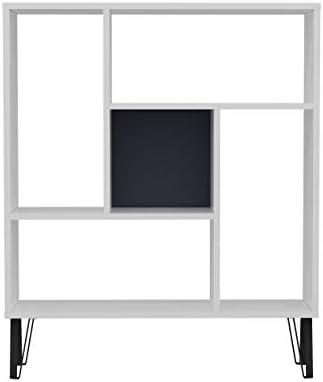 Reviewed: Ada Home Decor Arven Modern White Anthracite Bookcase 42.5'' H x 35.4'' W x 9.8'' D/Shelving Unit/Bookshelf