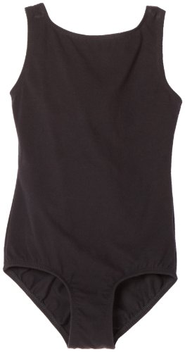 Danskin Big Girls' High Neck Tank Leotard, Black, Large (12-14)