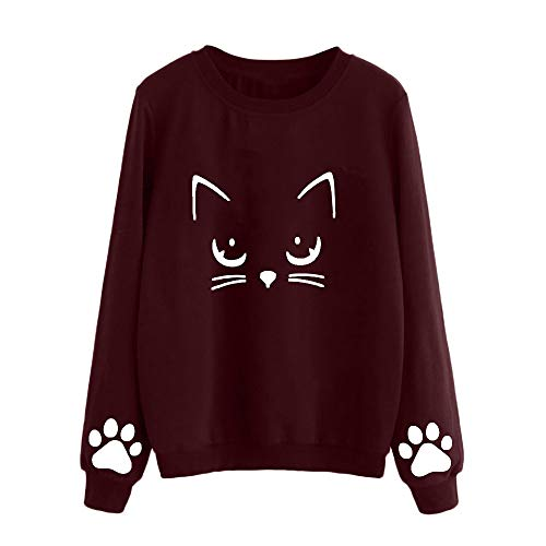 Women Long Sleeve Cat Claw Print Drawstring Kangaroo Pocket Fleece Pullover Hooded Sweatshirt Red -