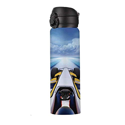 Cars Thermos Vacuum Insulated Bottle,Overhead Route Perspective from Open Cockpit Racing Car Driving at High Speed Illustration Thermos,9