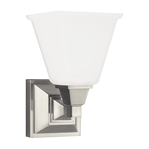 Sea Gull Lighting 4150401-962 Denhelm One-Light Bath or Wall Sconce with Etched White Inside Glass, Brushed Nickel Finish
