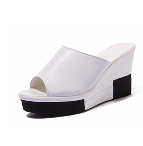 Slope und coole Pantoffeln dicke untere Ferse Mode Casual Sommer Strand Schuhe white