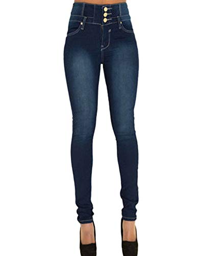 Femmes Skinny Denim Pantalon Taille Haute Slim Fit Stretch Jeans Pantalons Crayon Jeggings Indigo