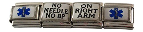 - No Needle No BP Right Arm Italian Charm Medical ID Alert