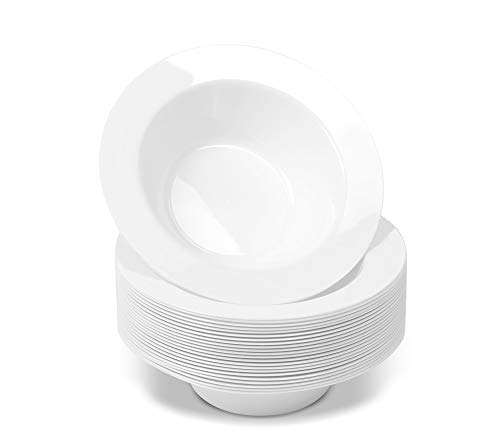 50 Disposable White Plastic Dessert Bowls | SMALL 6 oz. Premium Heavy Duty Dinnerware with Real China Design | Safe & Reusable (50-Pack) by Bloomingoods