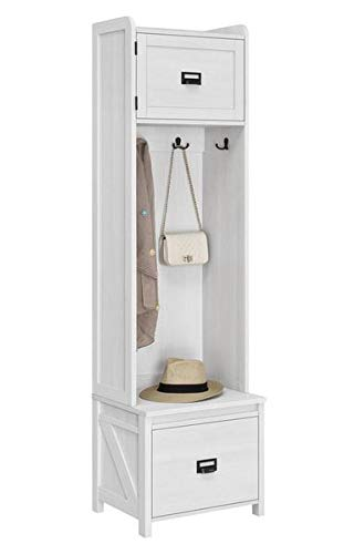 Amazon.com: Hall Trees with Bench and Coat Racks - Ivory ...