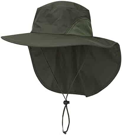 6c4535a5 FALETO Unisex Wide Brim Safari Hat UV Protection Outdoor Sun Hat Fishing Hat  with Neck Flap