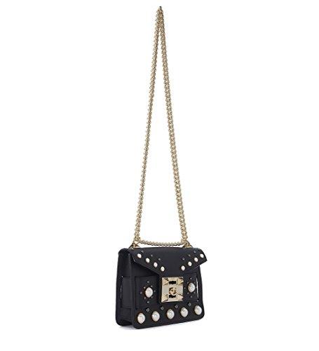 Borsa a tracolla Salar Mila in pelle nera con borchie a perla