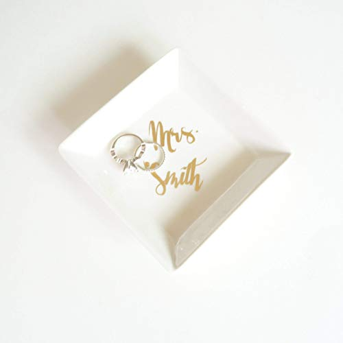 Custom Ceramic White and Gold Foil Jewelry Holder Square Ring Dish, Jewelry Ring Holder Box Tray, Unique Engagement Wedding Bridal Shower Bachelorette Gift Personalized Mrs Name Gift