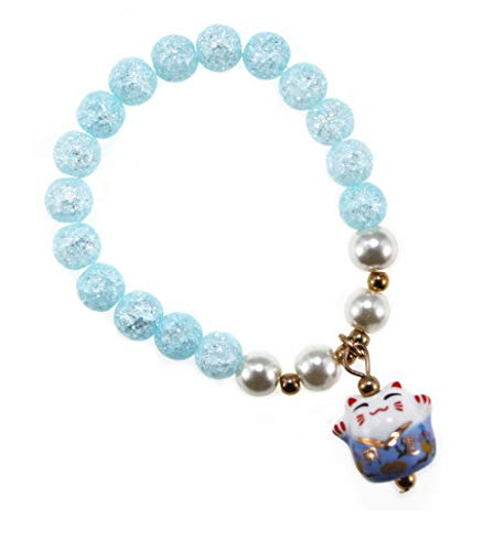 DreamMarker Ice Crack Crystal Korean Style Charm Bracelet a Fortune & Lucky Cat Pendant ()